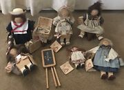 Lizzie High Vintage Wooden Dolls Lot If 6 Handcrafted Early 1990and039s