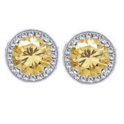 3 Ct Golden Genue Moissanite Round Halo Style Stud Earrings 10k Solid White Gold