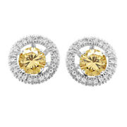 2.5 Ct Round Cut Golden Moissanite Stud Halo Earrings Jackets In 10k White Gold