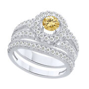 1.75 Ct Round Cut Golden Moissanite Bridal Engagement Rings In Sterling Silver
