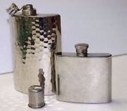 Made In W. Germany Hammered Tin-lined 10oz And 5oz Stainless Steel Flask Decanter