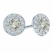 2.75 Ct Round Cut Moissanite Butterfly Back 10k White Gold Halo Stud Earrings