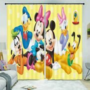 Blue Donald Duck Mouse 3d Curtain Blockout Photo Printing Curtains Drape Fabric