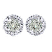 3.5 Ct Genuine Moissanite Solitaire Prong Halo Stud Earrings In Sterling Silver