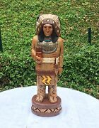 John Gallagher Carved Wooden Cigar Store Indian 6 Ft. Buffalo