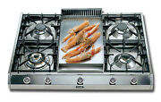 Ilve 36 Pro-style Gas Cooktop Lp- 5 Burners / Griddle - Stainless Steel