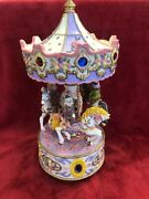 Vintage Musical Carousel Merry Go Round Clown Horse Plays Tune When Twisted