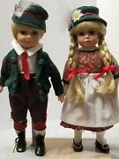 Vintage Pair Of German Porcelain Dolls Boy And Girl 13 With Stand