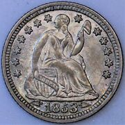 1853 Half Dime Choice Unc Clashed Dies Nice Type Coin