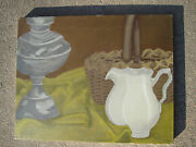 Original Painting Still Life Of Antiques Ironstone Pitcher, Oil Lamp And Basket