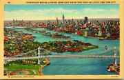 Postcard Triborough Bridge Looking Down East River From Over Hell Gate Ny