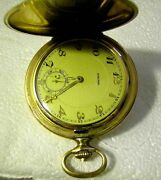 A Fine Art Deco Pre Wwii German Big Round Gold Plated Menand039s Favor Pocket Watch