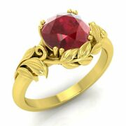 1 Carat Natural Ruby Solitaire Leaf Engagement Ring In 14k Yellow Gold