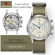 1963 Red Star Pilot Seagull St1901 Chronograph Hand Wind Watch 38mm Swan Neck