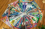 Lot Of 22 - Vintage Pennants - Mlb Baseball - 29 X 12 In - Free Shipping