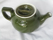 Vintage Hall Pottery Small Individual Teapot With Lid Green And White  Guc Cute