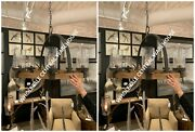 Pair Atwood Restoration Farmhouse Aged Metal And Wood Chandelier Dining Light
