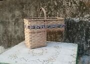 Vintage Pat Jeffers Hand Woven Stair Step Basket Wicker And Braids