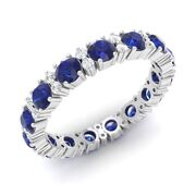 Certified 1.80ct Sapphire And Si Diamond Eternity Wedding Band Ring 14k White Gold