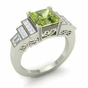 Certified Peridot And Vs Diamond Engagement Ring In Solid 14k White Gold- 2.21 Ct