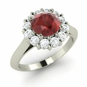 1.46ct Natural Garnet And Si Diamond Engagement Ring In 10k White Gold Certified