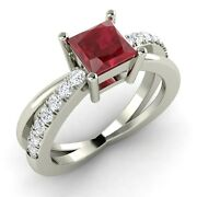 Princess Cut Natural Ruby And Diamond Engagement Ring In 14k White Gold - 1.1 Tcw