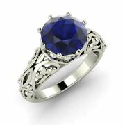 Certified 1.60 Ct Blue Sapphire Solitaire Engagement Ring In 14k White Gold