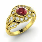 Certified Ruby And Si Diamond Engagement Ring In 14k Yellow Gold - 1.05 Tcw