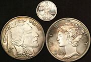 2 1/10 Oz Coin Silver Collectors Lot Rounds - Free Shipping Usa