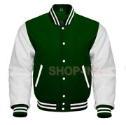Premium Varsity Dark Forest Green Letterman Wool And White Leather Sleeves Jacket