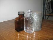 Lot Of 3 Vintage Amber Bell-ans And Owens Duraglas Bottle And 2 3/4 X 2 Dia Tin