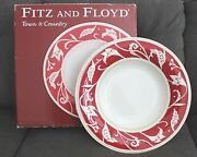 Fitz And Floyd Town And Country Red And White Folk Large Serving Bowl 16 B2