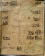 D. Mccarthy Map Of The Boroughs Of Danbury And Bethell Conn 1854 Very Good 45x36
