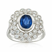 Vintage Sapphire And Diamond Ring In 18kt White Gold Size 7.25