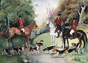 Watercolor Painting Fox Hunt English Country Landscape Scene Signed Original