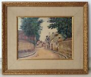 Antique Impressionism French Oil Painting Flag Landscape Maurice Utrillo