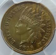 Usa United States 1866 1 Indian Head Cent Penny Pcgs Unc Detail Error