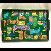 Vtg Wood Serving Tray With Handle Painted Cowboy Boots Design Dept 56.