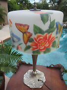 Unique Pairpont Style Puffy Reverse Painted Satin Glass Butterfly Shade Lamp