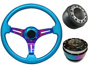 Blue Neo Chrome Quick Release Ts Steering Wheel Boss Kit Nc For Nissan 003