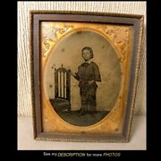Antique 1/2 Plate Tintype Identified Standing Young Boy Wall Frame