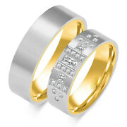 1 Pair Wedding Rings Gold 585 - Solid - With Zirconia - Width 6mm