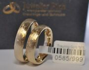 1 Pair Wedding Rings Gold 585 - Yellow - Ice Frosted - Width 6mm - Strength 2mm