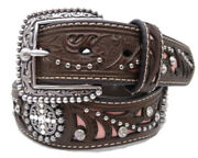 Ariat Western Womens Belt Leather Embossed Scalloped Conchos Pink Brown A1513030