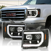 Black Clear Neon Tube Halo Led For 07-13 Gmc Sierra Projector Headlight Assembly