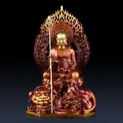 20and039and039 Brass Copper Carved Buddhism Temple Ksitigarbha Buddha Bodhisattva On Beast