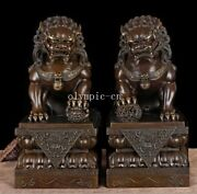 Pure Red Copper Carved Folk Home Fengshui Exorcise Evil Beast Pair Foo Dogs Lion