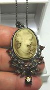 Darling Sepia Cameo Young Lady Rose Pendant Topaz Rhinestones Japanned Necklace