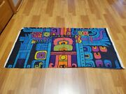 Awesome Rare Vintage Mid Century Retro 70s 60s Bright Wild Abstract Fabric Look