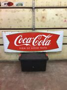 68andrdquox24andrdquo Coca Cola Fishtail Sled Sleigh Porcelain Sign